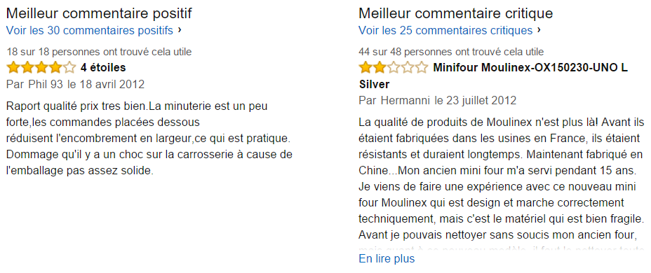 Commentaires utiles Moulinex OX150230